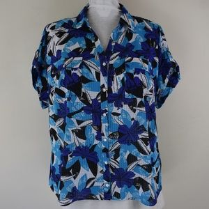 Kim Rogers Woman Size 2X Semi Sheer Button Up Top